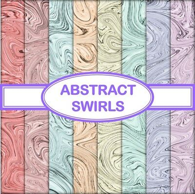 ABSTRACT SWIRLS SCRAPBOOK / CRAFT PAPER - 8 x A4 pages