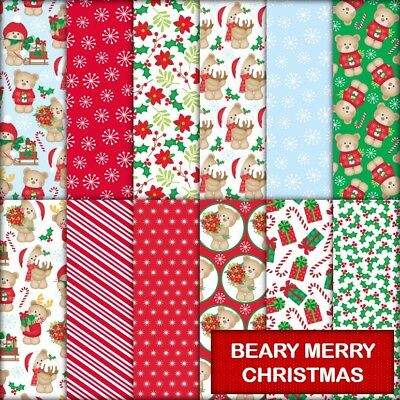 BEARY MERRY CHRISTMAS SCRAPBOOK / CRAFT PAPER - 12 x A4 pages.