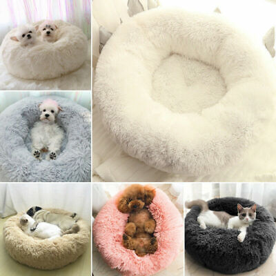 Comfy Calming Dog Cat Plush Bed Round Super Soft warm Pet Bed Marshmallow Beds