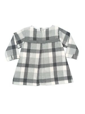 Coquelicot Girls Grey Bow Adorned Knee Length Long Sleeve Dress 3M-2T