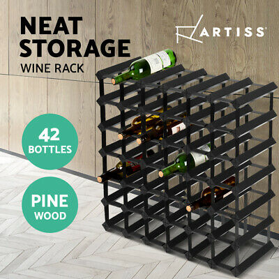 【20%OFF$77.5】 42 Bottle Timber Wine Rack Wooden Storage Wall Racks Holders Black