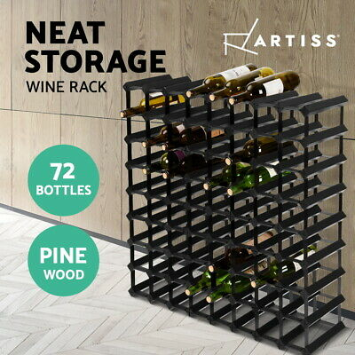 【20%OFF$108】 72 Bottle Timber Wine Rack Wooden Storage Wall Racks Holders Black