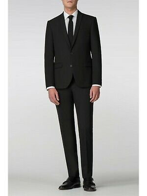 Mens Skinny Fit Suit Limehaus Black Panama 40R W34 L31