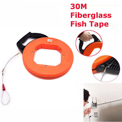 30M Fiberglass Fish Tape Puller Conduit Ducting Rodder Pulling Cable Throughwall