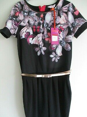 Ted Baker Black Sparkle/Butterfly Print Girls Jumpsuit.age 12.