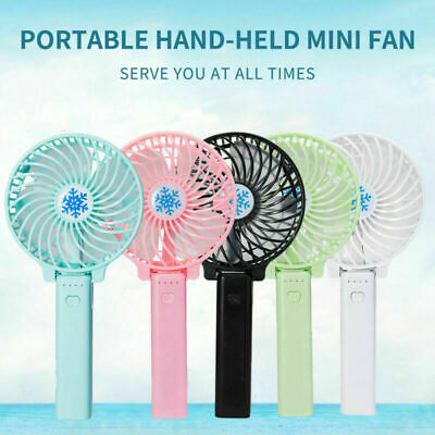 PINK Portable Battery Operated Folding & Desk Fan Mini Hand Held Cooler 3 Speeds