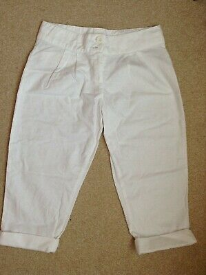 Girl age 11 years cropped trousers white Next cotton VGC adjustable waist