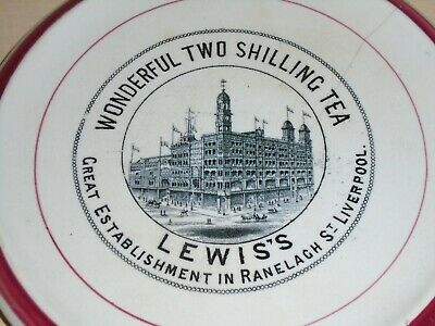1890s Liverpool Lewis's Ranelagh Street Advertising Pottery Teapot Stand 2 Shill