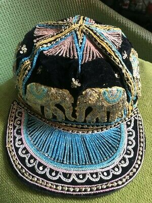 Child's vintage Indian velvet hat with braiding and sequinned elephants