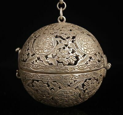 China Tibet Silver Hand-Carved Incense Burner Pendant Auspiciou Gift Collec Old