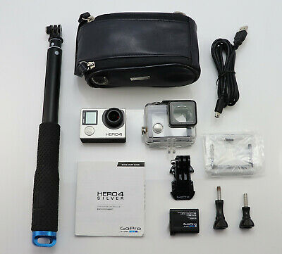 Gopro Hero 4 Silver Edition Camcorder 1080P Hd Card Action Cam & Extendable Pole