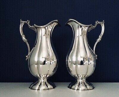 """Fine Pair Of 12"""" Mid 19th C. ELKINGTON & Co Silver Plated Wine/Water Jugs C1853"""