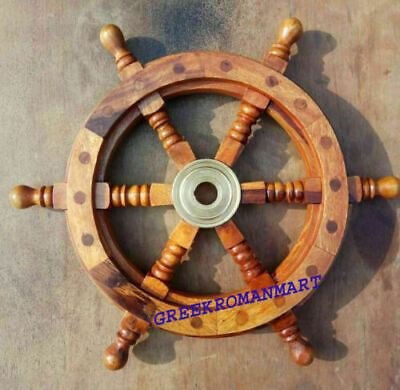 Wooden Ship Wheel Boat Steering Nautical Maritime Authentic Pirate Captain Gift