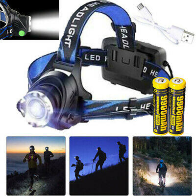 Zoomable 350000Lumen T6 LED Headlamp USB Rechargeable 18650 Headlight Head Light