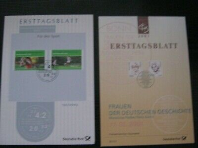 Germany - 2 Ersttagsblatt (First Day) Stamp Cards 2/2001 and 13a/2003