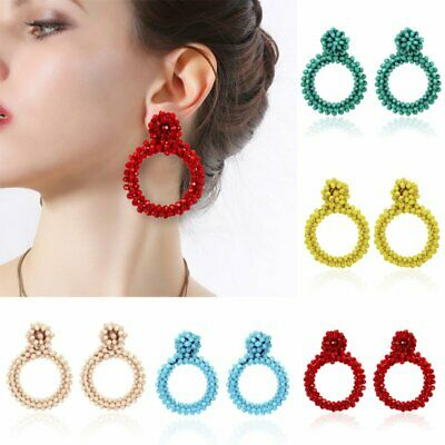 Women Fashion Handmade Round Crystal Braided Earrings Wedding Party Jewelry Gift