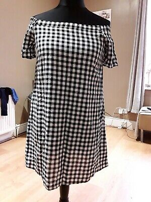Girls New Look Casual Black & White Checked Bardot Dress Age 14 Years