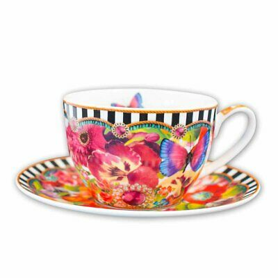 Lenox Melli Mello Eliza Stripe Coffee Cup and Saucer Butterflies Flowers