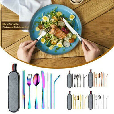 Colorful Iridescent Fork Spoon Stainless Cutlery Fork Chopsticks Set For Dining