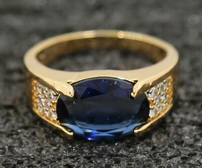 Oval Engagement 3.62ct Natural Sapphire 14KT Solid Yellow Gold Rings Size 11#