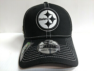 Pittsburgh Steelers Cap New Era 39Thirty Stretch 2019 Black Road Sideline Hat