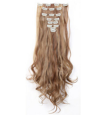 Real Natural Clip IN Hair Extension 8PCS Full Head Smooth Light Brown&Ash Blonde