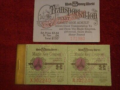 Disneyworld 1979 Magic Key Ticket Book And Transportation Ticket  #10