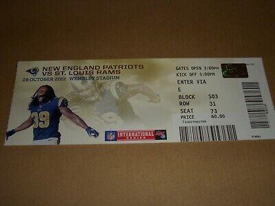 NFL WEMBLEY 2012 TICKET - NEW ENGLAND PATRIOTS vs St LOUIS RAMS