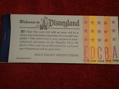 Disneyland Large Complete A-E Ticket Book From Sept 1972 Mint Cond. X036786