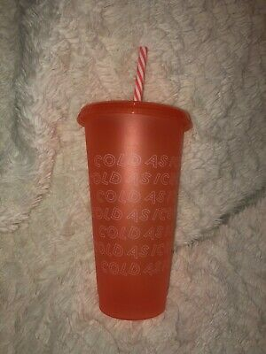 Starbucks 2019 Holiday Christmas Reusable Cold Cup Peach Venti BRAND NEW