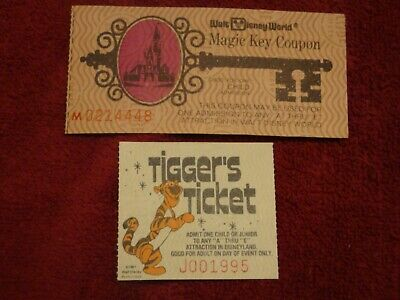 Disneyland Tigger Ticket 1981 & Disneyworld Child Magic Key Coupon  Set # X8