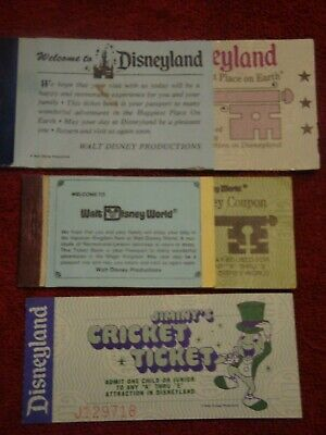 Disneyworld And Disneyland Courtesy Guest Ticketbooks And Jiminy Ticket #1A