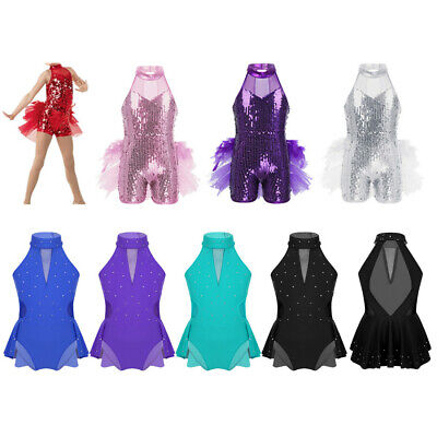 Girls Kids Modern azz Dance Dress Gymnastics Ballet Leotard Dancewear Costumes