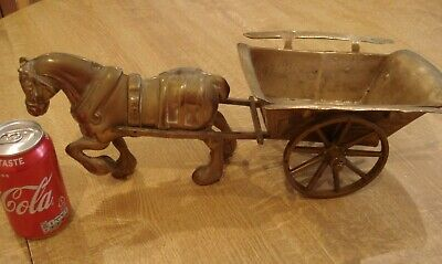 Vintage large & heavy solid brass horse and cart. over 3kilos