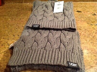 Ugg cable knit hat and scarf in grey