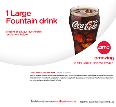 AMC Movie Theater 1 Large Fountain Drink coke ***emailed to you*** exp 6/30/20