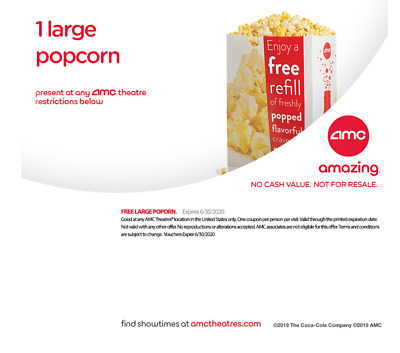 AMC Theater 1 Large Popcorn  *** emailed to you***