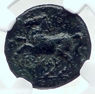 Roman Republic ANONYMOUS LITRA 235BC Ancient Rome Coin APOLLO HORSE NGC i81350