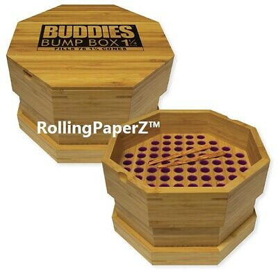 Buddies 1 1/4 SIZE Wood RAW PreRolled Cone Filler Loader Bump Box Fills 76 cones