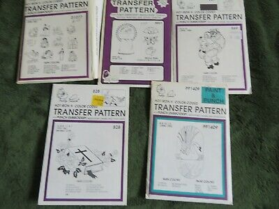 5 hot iron transfer pattern envelopes for punch embroidery