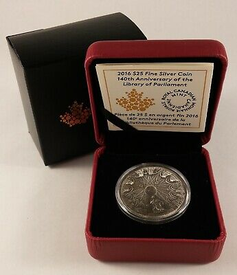 2016 Canada $25 140th ANN of LIBRARY OF PARLIAMENT Concave Fine Silver Coin