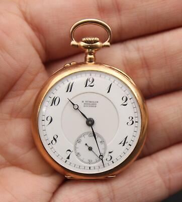 Small Antique French Gubelin Lucerne 18kt Yellow Gold Pin Set Pocket Watch, NR