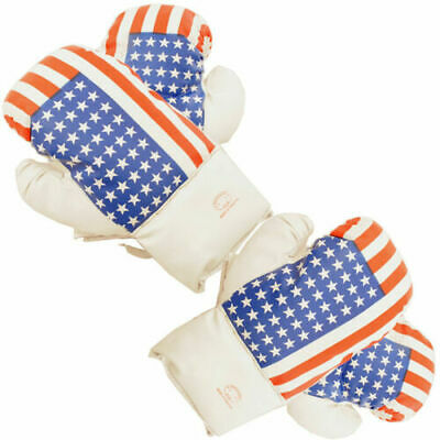 USA Flag 16 Oz Boxing Gloves 2 Pairs Vinyl Leather Gloves Practice Training NEW!