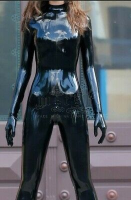 Unisex Latex Catsuit Rubber Gummi Bodysuit Schwarz Cool Rennuniform Custom S-XXL