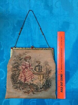 Vintage Antique 1920s Era Victorian Tapestry Purse Glass Beads Metal Chain