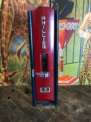Vintage 1940'S Art Deco Coin Operated Phillies Cigar Vending Machine Rare!!