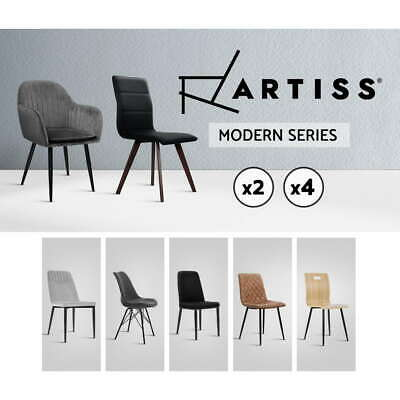 Artiss Dining Chairs Replica Kitchen Chair Fabric Leather Retro Iron Legs x2x4