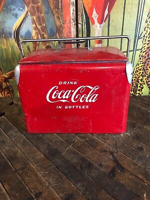 Vintage Coca Cola Acton Low Boy Cooler 7Up Pepsi Dr Pepper Orange Crush Sign