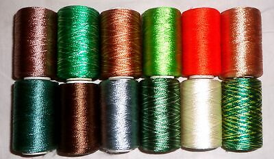 Sale 12 Small Spools Machine Embroidery Art Silk Rayon Thread 270 Yds H22 #Abe3D