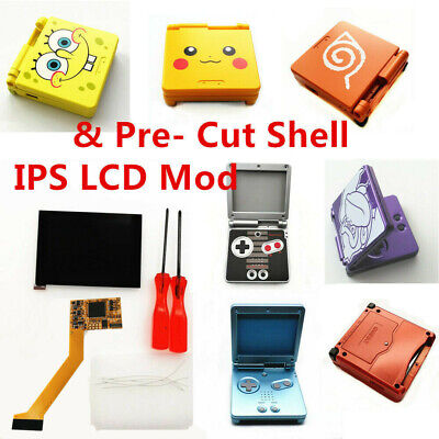 GBA SP 5 Levels Brightness IPS Backlight LCD Mod& GBA SP Pre- Cut Shell Cover